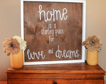 Custom Wood Farmhouse Sign-Distressed-Farmhouse-Handmade-home is a strting place for love and dreams