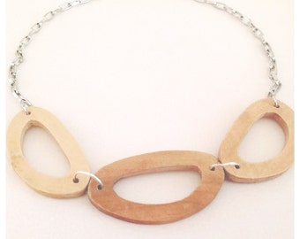 Modern geometric wooden necklace- bamboo in natural color-  modern, contemporary, minimalist handmade jewelry- eco friendly