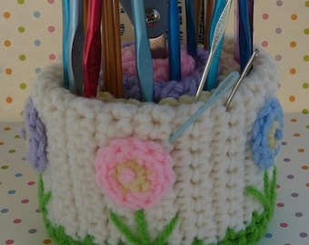 Springtime Needlework Caddy Crochet PATTERN - INSTANT DOWNLOAD