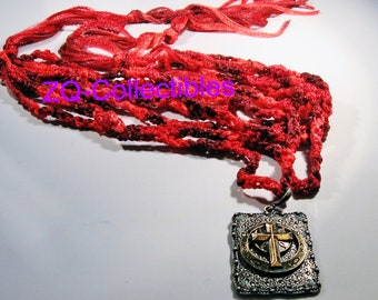 Red Crocheted Necklace with Pendant