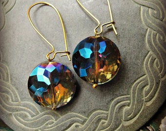 Aurora Borealis Faceted Glass Crystal Earrings Spectrum Dangle Jewelry large