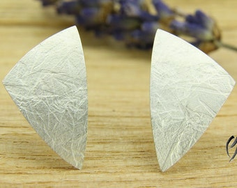 Earrings Silver 925 /-, large triangle, textured paper, handmade