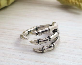 bones and clows ring sterling silver - adjustable ring