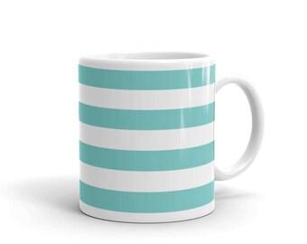 Horizontal Aqua Stripes Coffee Mug