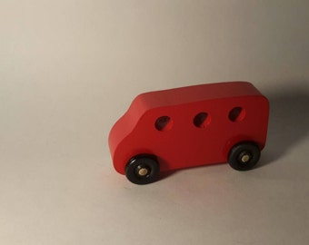 Handcrafted Play Pals Wood Toy Mini Van