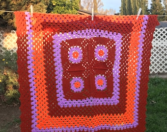 Vtg Crochet Granny Handmade Afghan Brown Orange Purple Throw Blanket