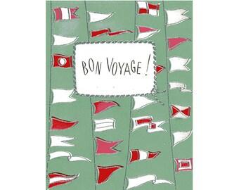Vintage Original unused Greeting card Bon Voyage- Leaving on Ship Cruise