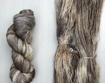 Hand dyed yarn, feather sock yarn, knitting yarn, merino blend, speckled yarn
