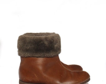 6.5 C   1960's Vintage Brown Leather Fleece Lined Winter Ankle Boots MOD