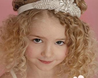 Flower Girl Headband, Rhinestone Headband,Baby headbands, Gatsby Headband, Bridal Headband, Crystal Headband, Bling Headband,Christening Bow