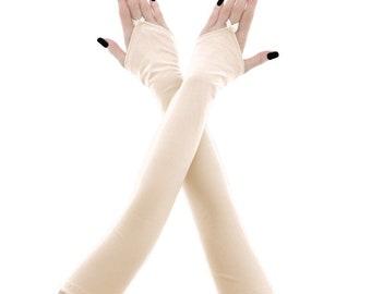 ivory bridal gloves women gloves fingerless gloves long gloves ivory gloves wedding gloves arm warmers fabric bride wedding ivory 4445