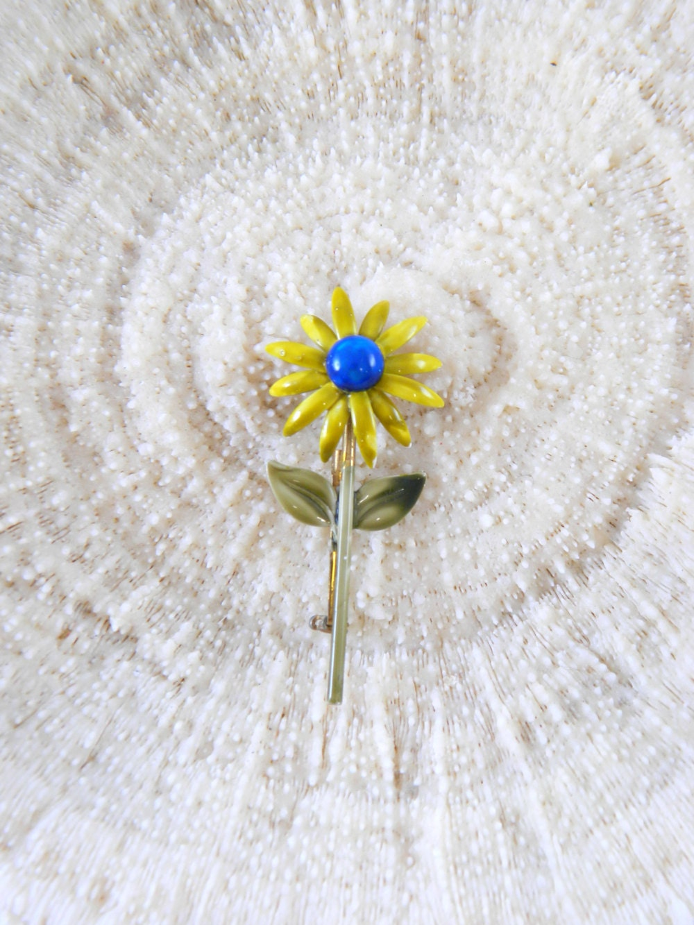 Vintage 1960s Broochenamel Yellow Flower Green Stem Pin With Blue Marble Centerazed Marbelized Enamelmid Century Mod