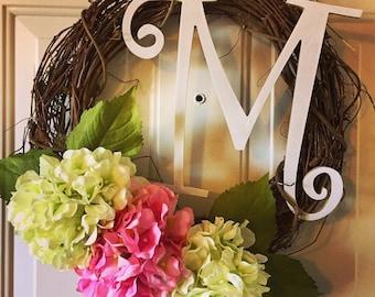 Hydrangea wreath, grapevine wreath, monogrammed wreath, spring wreath, every day wreath, front door wreath, hydrangea monogrammed wreath