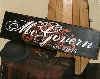10x32 Personalized Established Family Name Signage  --   Vintage Sir Name Style