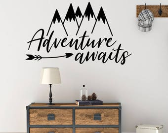 Arrow wall decal, Playroom wall decal, Mountain wall decal, Nursery wall decal, Adventure awaits decal, Boys room decor, Bedroom art  RB111