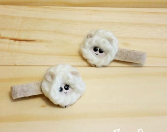 Little Sheep Hair Clip Set, Lamb costume, Baby hair clips, gift for baby, nature lover gift, nature inspired, handmade by True Rouge