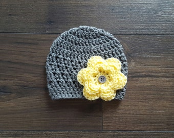 Baby girl hat, baby girl beanie, crochet baby hat, 0-3 month baby gift, baby shower gift, baby hats for girls, pink flower hat, newborn hat