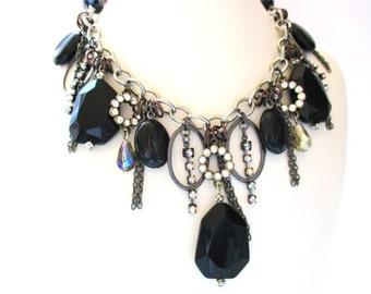 Statement Necklace, Black Gemstone Fringe Necklace, Black Onyx Dangle Necklace, Black Crystal Rhinestone Necklace, OOAK, Trendy Jewelry