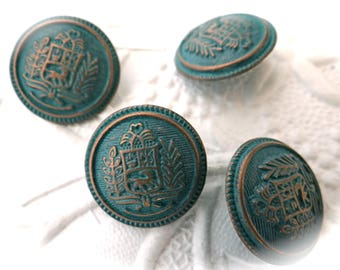 Sml. Copper Verdi Gris Buttons 4 Costume Buttons Sewing Notions BT-114