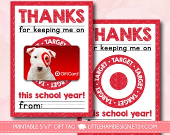 Printable Thanks for Keeping Me on Target // Gift Card Holder // Target Thank You Gift Tag // Teacher & Friend Gift // Instant Download 5x7