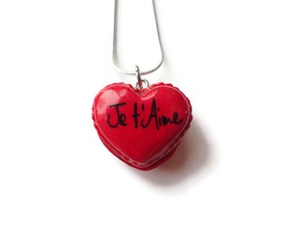 I love macaroon necklace polymer clay, red macaron Keychain, gift personalized, heart magnet heart macaroon, heart necklace, gift idea