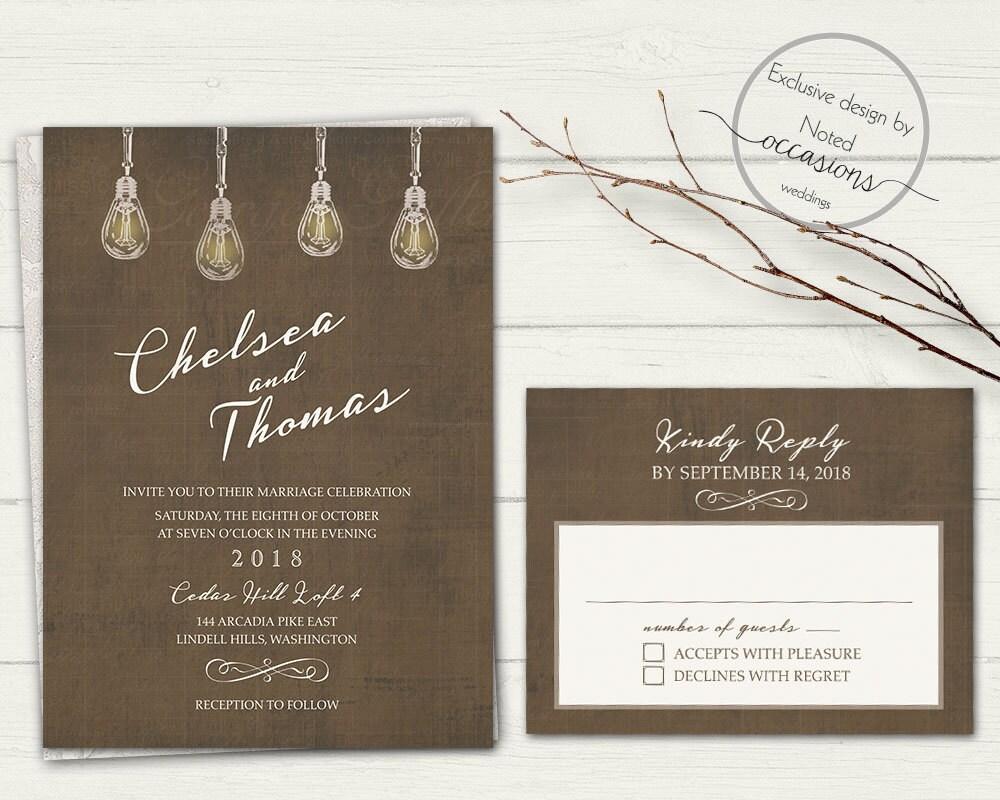 Industrial Wedding Invitation Industrial Chic Wedding Invites