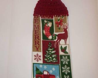crochet towel, crochet towels, crocheted towel, christmas towel, hanging towel, kitchen towels, christmas decor