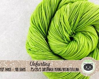 Light Green Tonal Hand Dyed Yarn, Sock Yarn, Merino Wool Yarn, Fingering Yarn, Tonal Yarn, Sparkle Yarn, Glittering Luxe, Unfurling
