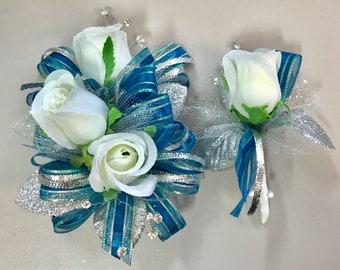Teal Blue White Rose Corsage & Boutonnière Set (Artificial Flowers)