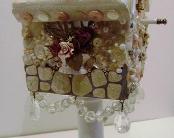 Shabby Mosaic  Art And Mixed Media Birdhouse