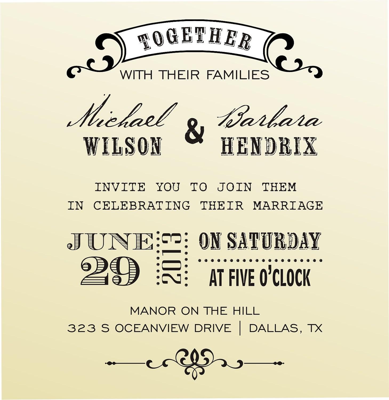 DIY Wedding invitation vintage design typewriter font rubber