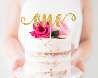 One Cake Topper One Smash Cake Topper First Birthday Cake Topper 1st Birthday Cake Topper Gold Glitter One Topper Pink Glitter One Topper