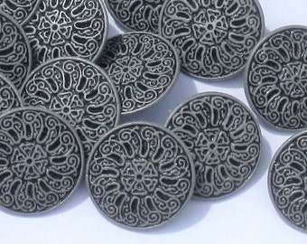 "Set 15 Fancy FLORAL Flower new vintage silver Pewter METAL buttons 19mm 3/4"" DIY Sewing Craft"
