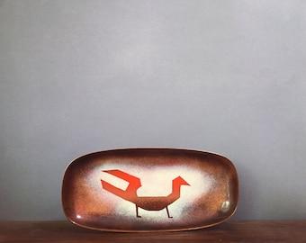 Mid Century Enamel on Copper Dish