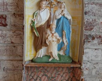 Vintage Religious Icon, Home Alter, Chalkware, Jesus, Sacred Heart