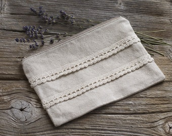 Linen and Lace Cosmetic Bag, Linen and Cotton Zipper Pouch