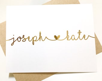 Gold Foil Wedding Thank You Cards - Personalized Gold Foil Stationery - His and Hers Heart Note Cards - Calligraphy Heart DM550