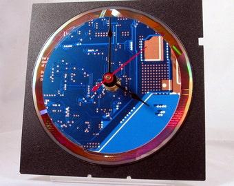 Computer Circuit Board Desk Clock (Blue)