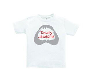 Totally Jawsome Shark Shirt Kids Youth Boys Clothing Fish Fishing