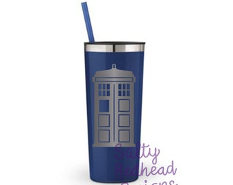 Doctor Who Tardis 22 oz Sandblasted Metal Tumbler
