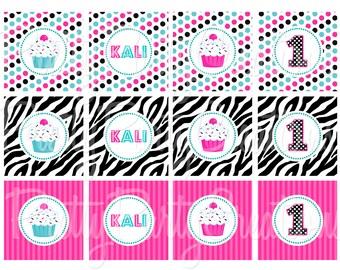 PINK/TEAL ZEBRA cupcake toppers - You Print
