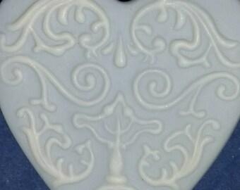 1980's Wedgewood ceramic heart-shaped pin
