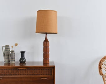 Vintage Teak Bottle Neck Table Lamp with Natural Hessian Textured Shade