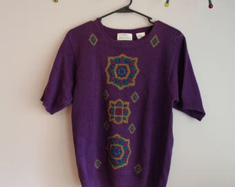 Womens Jantzen Short Sleeved Sweater // Purple // Small // Vintage