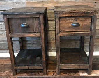 Rustic End Tables   Set Of Two