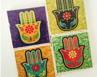 Hand Amulet Coasters - Eye in Hand - Home Decor - Housewarming - Hamsa - Set of 4