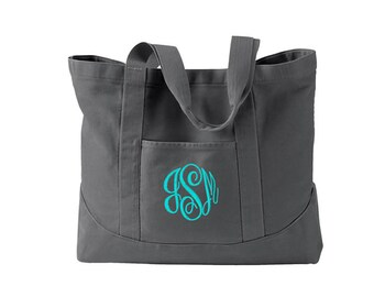 Monogrammed Tote Bag  -  Personalized Canvas Tote Bag  in 7 colors - Large Canvas Tote Bag