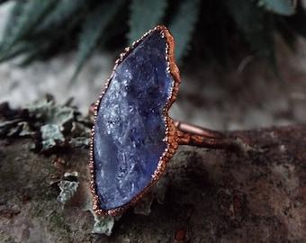 Tansanitring, Tanzanite, US 8, gemstone ring, stacking ring, copper ring, stacking ring, raw crystal ring, raw tanzanite ring, Boho ring
