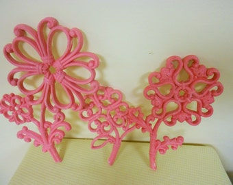 Vintage pink Homco three flowers colorful bright upcycled  wall plaques