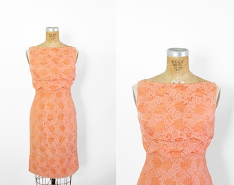 1950s Dress - 50s Dress - Coral Peach Floral Lace Sleeveless Wiggle Dress Party Dress
